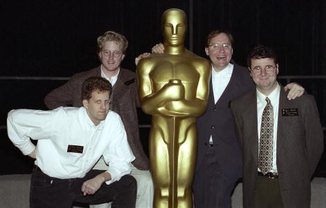From left: Pete Docter, Andrew Stanton, John Lasseter, and Joe Ranft, nominees, Writing (Screenplay Written Directly for the Screen) (TOY STORY), at the 1995 (68th) Academy Awards Nominees Luncheon.